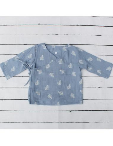 Wickeloberteil Blue Feathers I Sommer-Tragekleidung für dein Baby