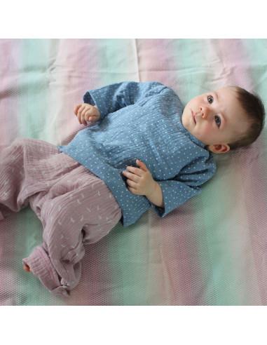 Tragefoto Musselin Babykleidung